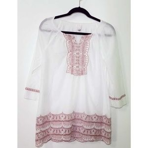 Chico's White Embroidered Top
